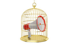 Birdcage with megaphone inside, 3D rendering Royalty Free Stock Photography