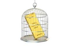 Birdcage met gouden binnen bar, het 3D teruggeven Royalty-vrije Stock Afbeelding