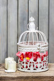 Birdcage with pink flowers inside Royalty Free Stock Photos