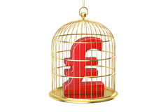 Birdcage with pound sterling currency symbol inside, 3D renderin Royalty Free Stock Photography