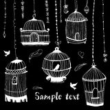 Birdcage print.The bird in the cage. Stock Images
