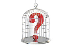 Birdcage with question mark inside, 3D rendering Stock Image