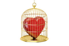 Birdcage with red heart, 3D rendering Stock Photo