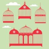 Birdcage Set. Bird cage over green background Stock Image