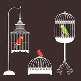 Birdcage Set. Bird cage over braun background Royalty Free Stock Image