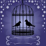 Birdcage su fondo floreale blu Fotografia Stock Libera da Diritti
