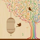 Birdcage sull'albero musicale Fotografia Stock Libera da Diritti