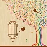 Birdcage sur l'arbre musical illustration stock