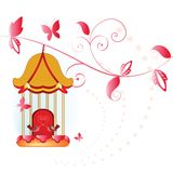 Birdcage with vine. Butterflies and birds -whimsical design Stock Photography