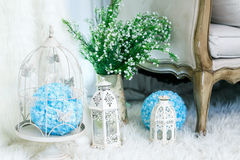 Birdcage. White Bird cage for wedding and party decoration in place Royalty Free Stock Photo