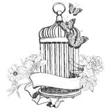 Birdcage wih ribbon, flowers and butterfly Royalty Free Stock Photo