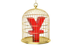 Birdcage with yen or yuan currency symbol inside, 3D rendering. Isolated on white background Royalty Free Stock Image