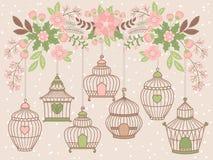 Birdcages вектора вися от ветви рождества флористической иллюстрация вектора