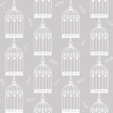 Birdcages and feathers Stock Photography