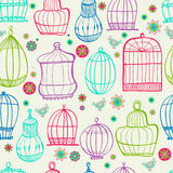 Birdcages pattern. Colorful doodle illustration. Stock Photo