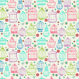 Birdcages pattern. Colorful doodle illustration. Stock Photography
