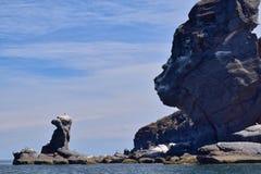 Birdd rock and the Sphinx: Vulcanic rock formation on Corona Island, Loreto Mexico. Unusula volcanic rock formation on Corona island, Loreto, Baja California royalty free stock photos