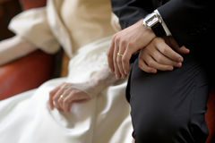 Birde's and groom's hands Royalty Free Stock Images