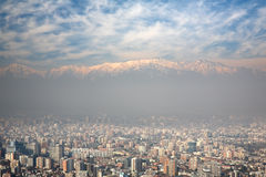 Birdeye view of Andes and Santiago, Chile Royalty Free Stock Photography