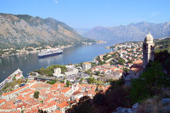 Birdeye view of Kotor town. Kotor, Montenegro - September 4, 2015: Birdeye view of historical town of Kotor seen from St John's fortress. Virgin Mary Church Royalty Free Stock Photography