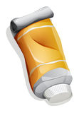 A birdeye view of the orange medicine tube Royalty Free Stock Images