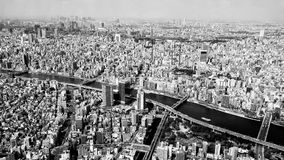 The birdeyeview of Sumida river at Tokyo Japan. The Tokyo city viewed from skyscaper obsevation floor. It is Sumida river in the middle of the picture.The city Stock Photography