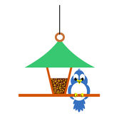 Birdfeeder and Bluebird. Bird perched at bird feeder full of seeds Stock Illustration