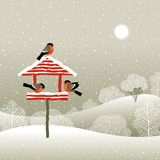 Birdfeeder in de winterbos Royalty-vrije Stock Fotografie