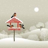 Birdfeeder en forêt de l'hiver Photographie stock libre de droits