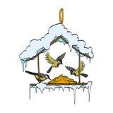 Birdfeeder im Winterwaldvektor Lizenzfreie Stockbilder