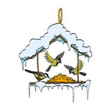 Birdfeeder nel vettore della foresta di inverno Immagini Stock Libere da Diritti