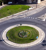 Birdfly view of road roundabout Stock Images