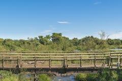 Birdge at Parana River at Iguazu Falls Royalty Free Stock Photography