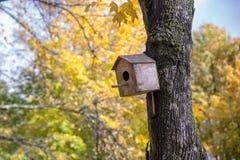 Birdhouse στο πάρκο φθινοπώρου Στοκ φωτογραφία με δικαίωμα ελεύθερης χρήσης