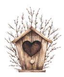 Birdhouse и верба иллюстрация штока