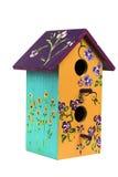 Birdhouse покрашенный рукой деревянный 1 Стоковые Изображения RF