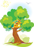 Birdhouse. The bird's small house located in a tree crone. vector. illustration Stock Photos