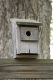 Birdhouse. An old wooden bird house near tree stock photos