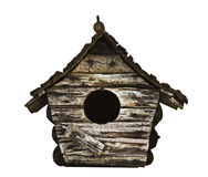 Birdhouse. Weathered wooden birdhouse, isolated on white background with clipping path Stock Photos
