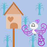 Birdhouse. A bird near her birdhouse vector illustration