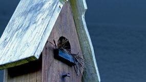 Birdhouse Blue Closeup Royalty Free Stock Images