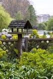 Birdhouse with Buckingham Palace as background Stock Photos