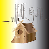 Birdhouse. In the center of the city, Birds Nest, Nesting box, House, Bird, Box - Container, Vector Illustration Stock Photography
