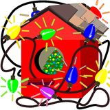 Birdhouse with Christmas lights Stock Images