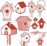 Birdhouse Collection. Clip art set of different type of birdhouse Royalty Free Stock Photos