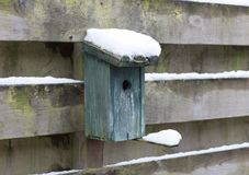 Birdhouse covert in snow. Hanging on a wooden fence Stock Photos