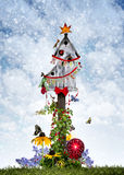 Birdhouse de Noël Photo libre de droits