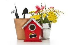 Birdhouse with decoration Stock Photography