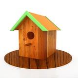 Birdhouse del nido su bianco Fotografia Stock Libera da Diritti