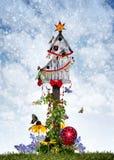 Birdhouse di natale Fotografia Stock Libera da Diritti